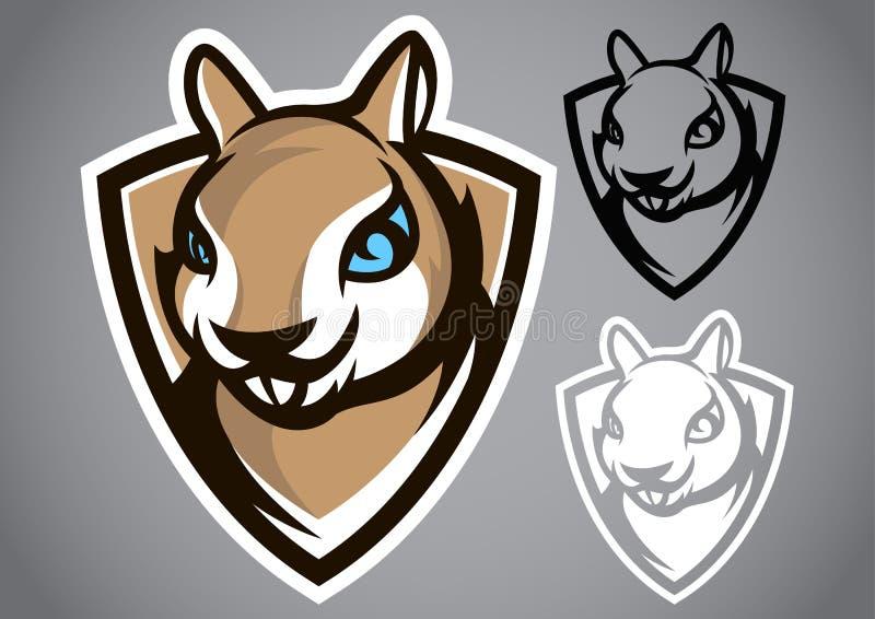 Emblema grigio di vettore di logo dello schermo dello scoiattolo immagine stock