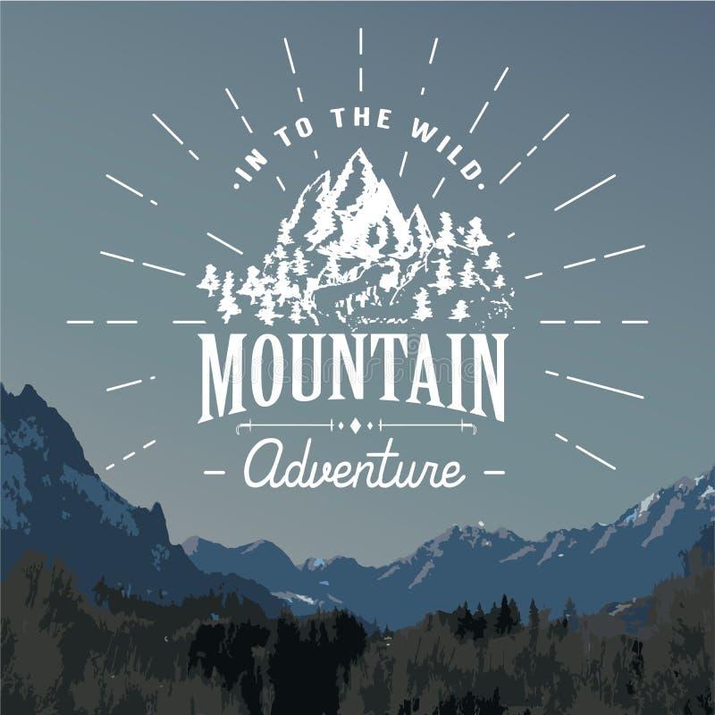 Emblema handdrawn del bosquejo de las montañas actividad que acampa y que camina al aire libre, deportes extremos, símbolo al air libre illustration