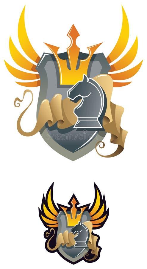 Emblema heráldico da xadrez ilustração stock