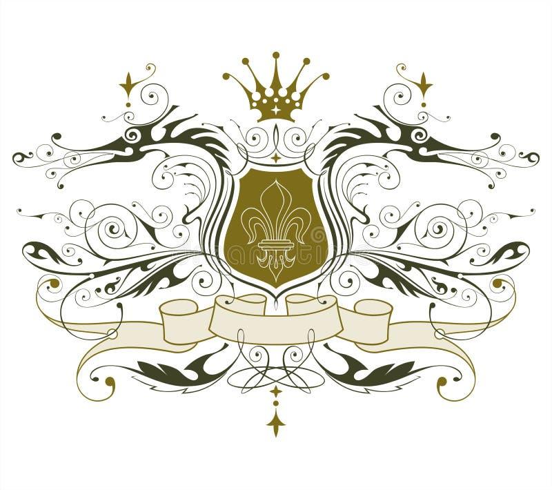 Emblema heráldico de la vendimia stock de ilustración