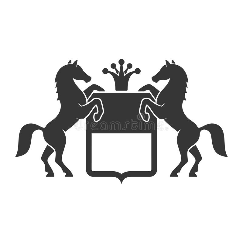 Emblema heráldico del vintage con los caballos Vector libre illustration
