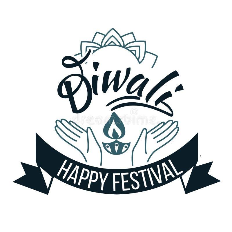 Emblema hindú religioso del día de fiesta de Diwali con loto ilustración del vector