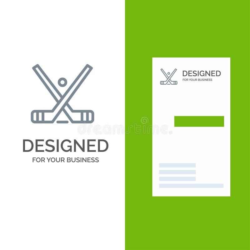 Emblema, hockey, ghiaccio, bastone, bastoni Grey Logo Design e modello del biglietto da visita illustrazione vettoriale