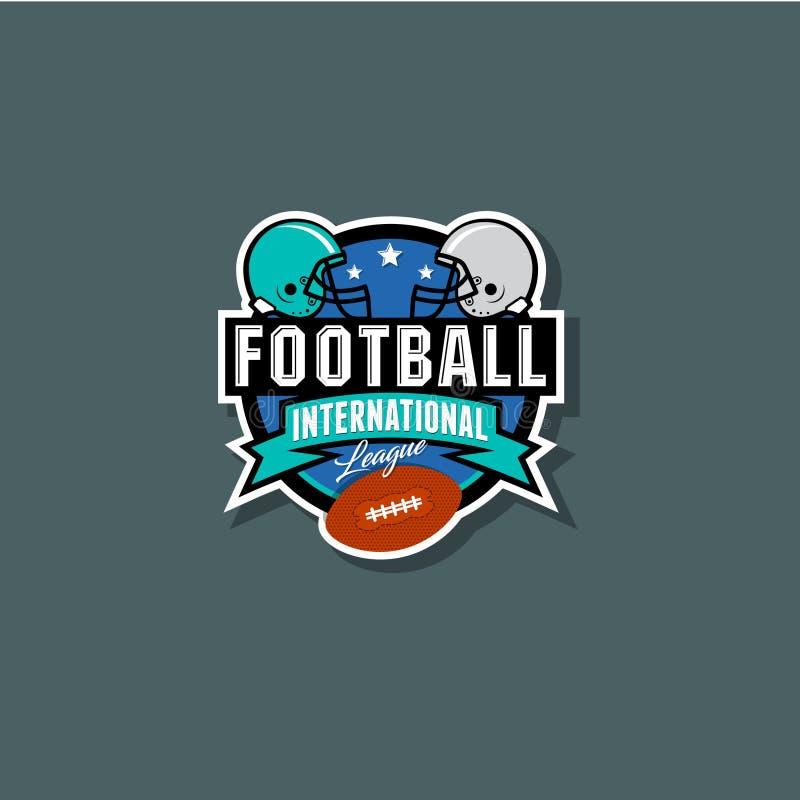 Emblema internazionale della lega di football americano Caschi e palla royalty illustrazione gratis