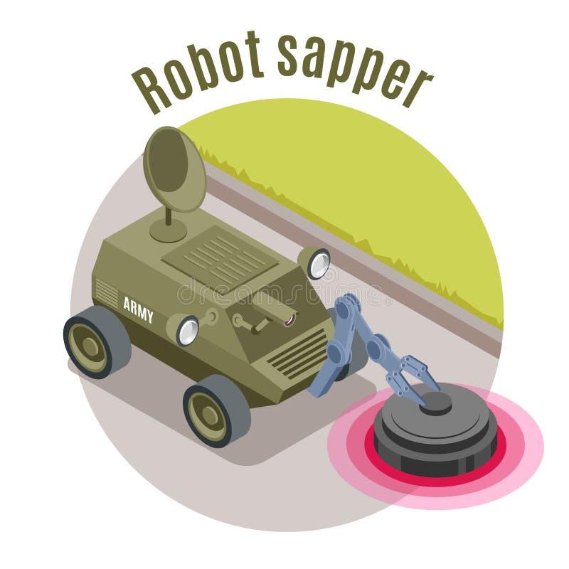 Emblema isométrico dos robôs militares ilustração stock