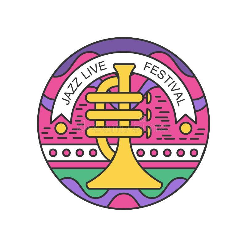 Emblema linear colorido con la trompeta Logotipo abstracto para el concierto vivo del jazz Diseño original del vector para el fes stock de ilustración
