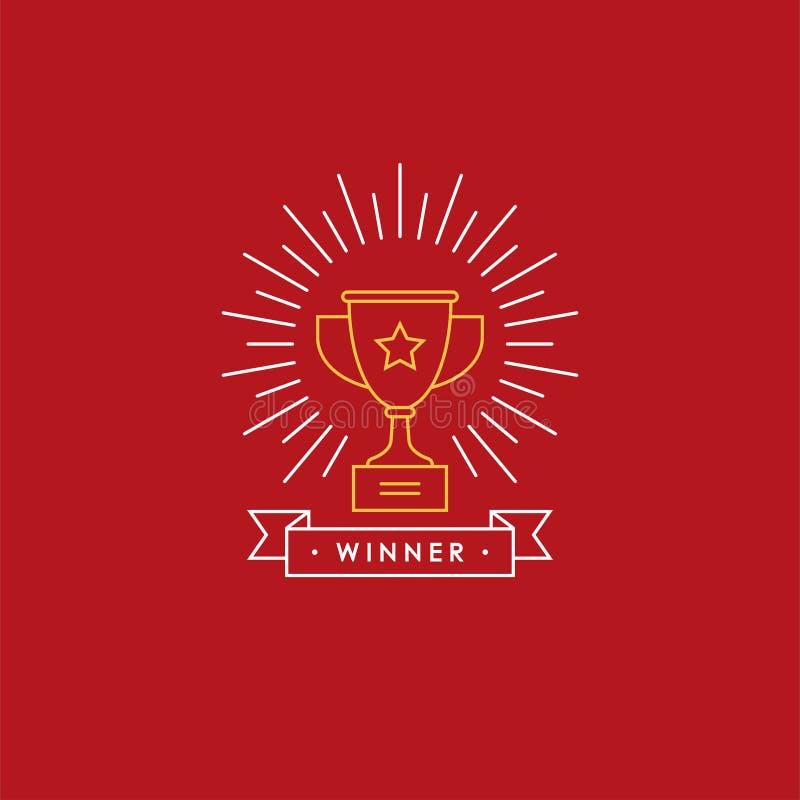Emblema linear com copo do vencedor ilustração royalty free