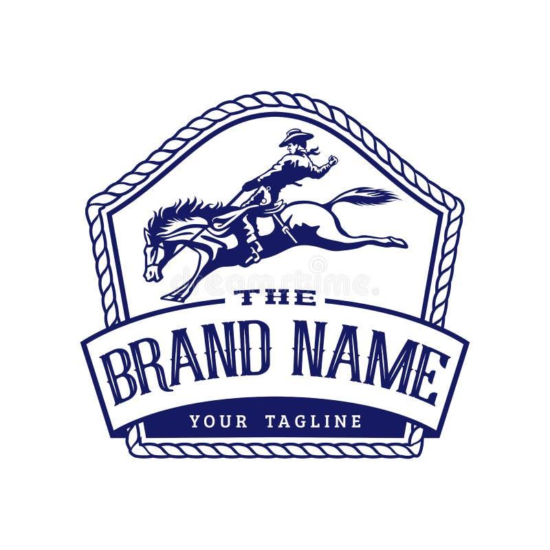 Emblema Logo Template do rodeio do cavalo foto de stock royalty free