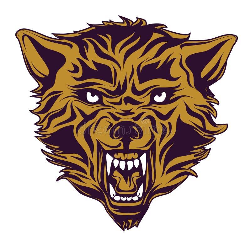 Emblema, logotipo, tatuagem, cabeça de um lobo ilustração do vetor