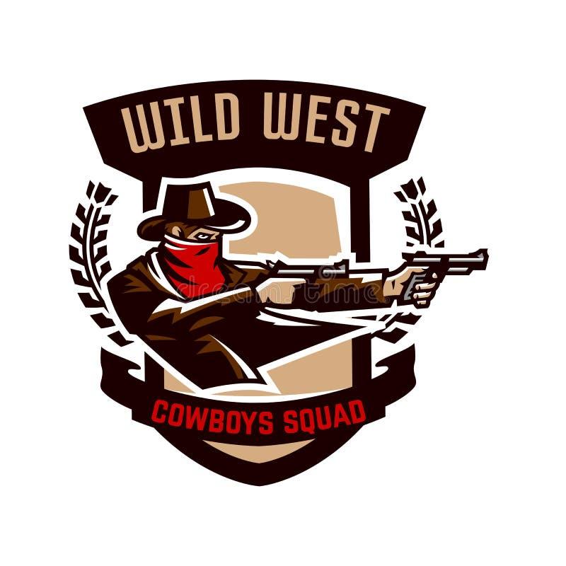 Emblema, logotipo, tiro do vaqueiro de dois revólveres Oeste selvagem, um vândalo, Texas, um ladrão, um xerife, um criminoso, um  ilustração royalty free