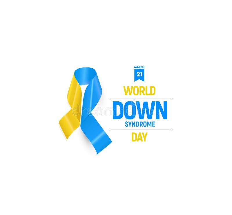 Emblema médico de la cinta de Síndrome de Down, azul y amarillo libre illustration