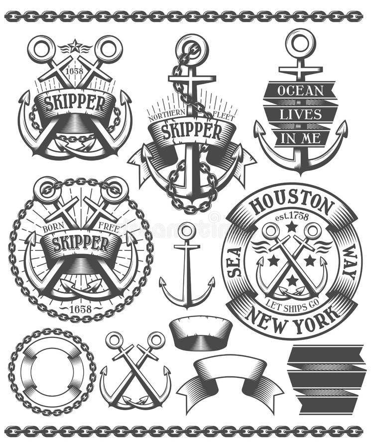 Emblema marino con las anclas libre illustration