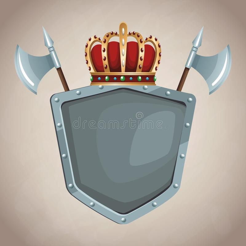 Emblema medieval del ejército ilustración del vector