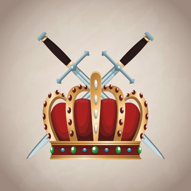 Emblema medieval del ejército stock de ilustración