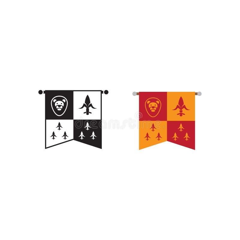 Emblema medieval del reino, iconos de la bandera stock de ilustración