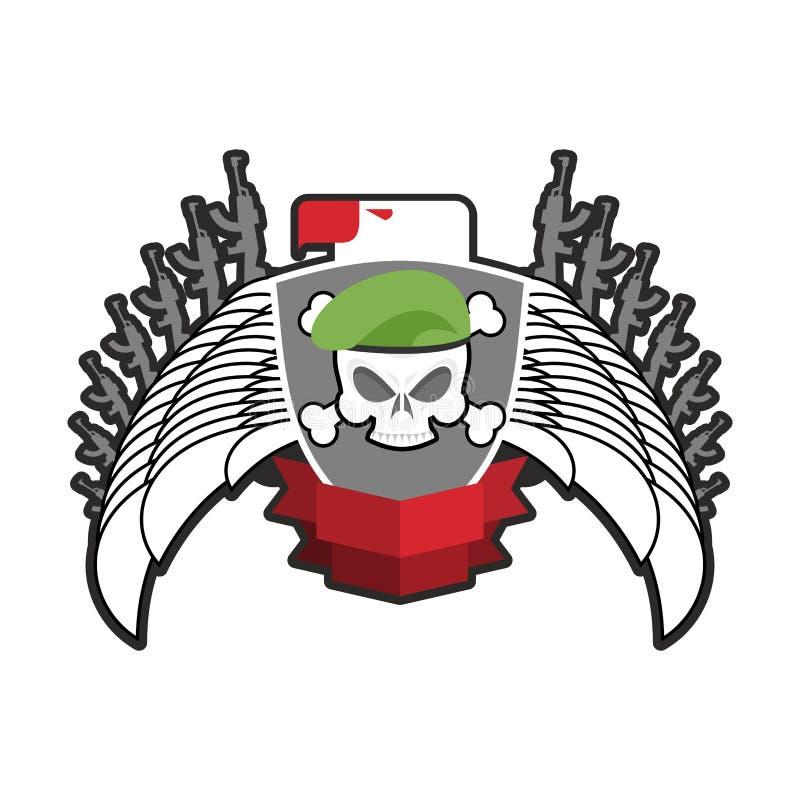 Emblema militar Logotipo do exército Crachá dos soldados Crânio na boina asa ilustração do vetor