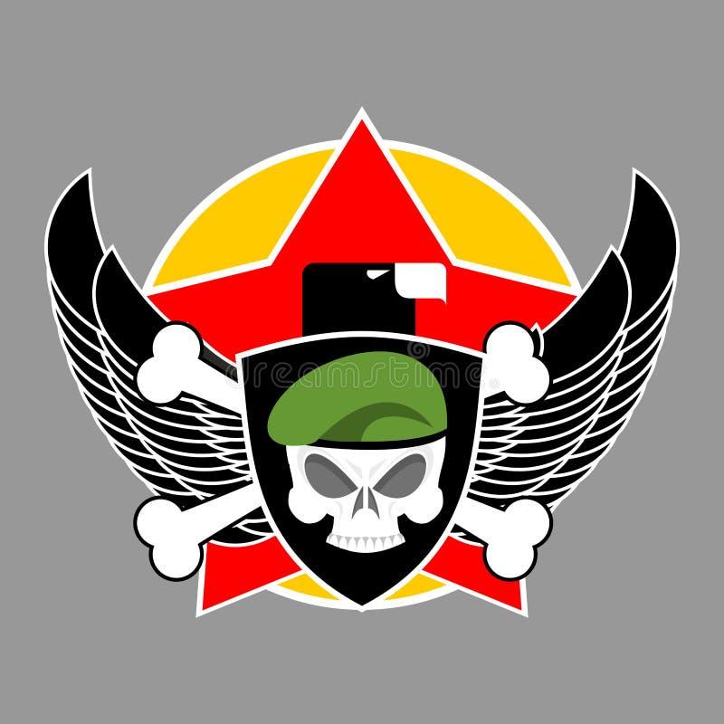 Emblema militar Logotipo do exército Crachá dos soldados Crânio na boina asa ilustração stock