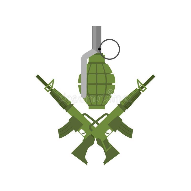 Emblema militar Logotipo do exército Rifles e granada cruzados Arma e ilustração stock