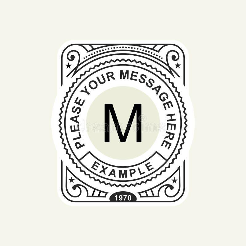 Emblema moderno, crachá, molde do monograma Linha elegante luxuosa ilustração do ornamento do quadro do vetor do projeto do logot ilustração stock