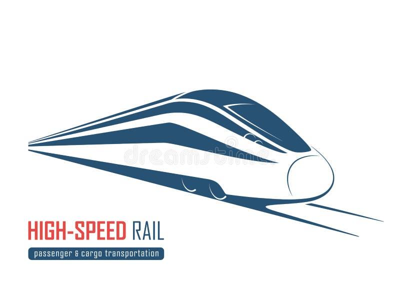 Emblema moderno del tren de alta velocidad, icono, etiqueta, silueta stock de ilustración