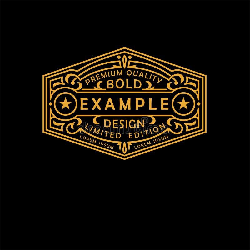 Emblema moderno, insignia, etiqueta, plantilla del monograma Línea elegante de lujo ejemplo del ornamento del marco del vector de libre illustration