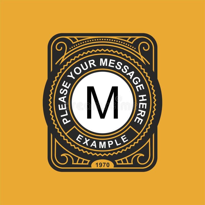 Emblema moderno, insignia, plantilla del monograma Línea elegante de lujo ejemplo del ornamento del marco del vector del diseño d ilustración del vector