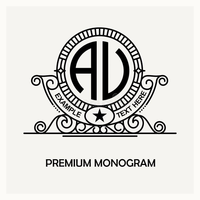Emblema moderno, insignia, plantilla del monograma Línea elegante de lujo ejemplo del ornamento del marco del vector del diseño d stock de ilustración
