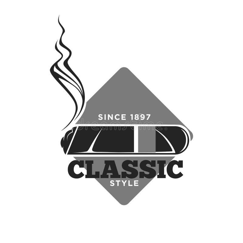 Emblema monocromático clássico dos charutos do estilo desde 1897 ilustração do vetor