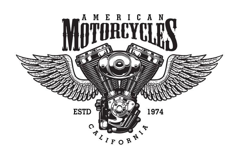 Emblema monocromático de la motocicleta del vintage stock de ilustración