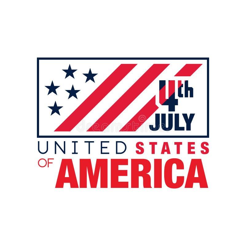 Emblema monocromatico creativo con la bandiera americana Felice il quarto luglio Festa dell'indipendenza di U Festa nazionale Vet illustrazione vettoriale