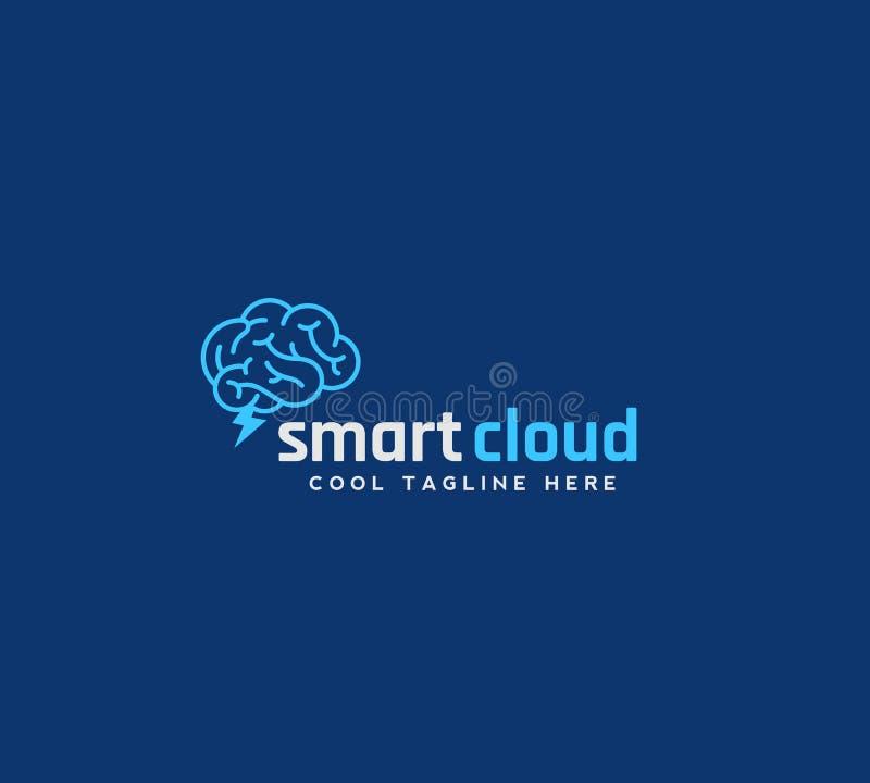 Emblema, muestra o Logo Template elegante del vector del extracto de la nube Cerebro con concepto de la silueta de la ventisca en ilustración del vector