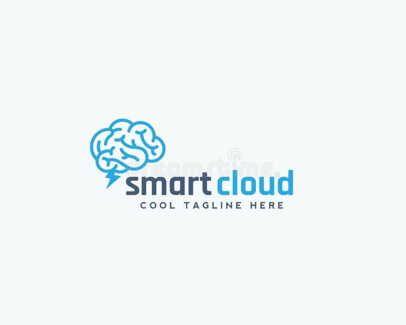 Emblema, muestra o Logo Template elegante del vector del extracto de la nube Cerebro con concepto de la silueta de la ventisca libre illustration