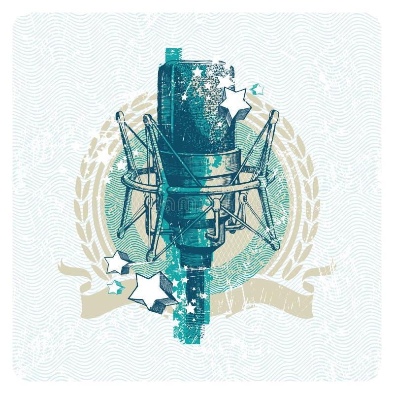 Emblema musicale con il microfono di condensatore dello studio illustrazione vettoriale