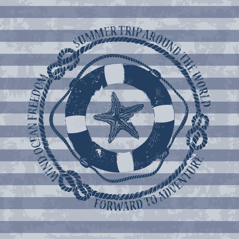 Emblema náutico com boia salva-vidas e estrela do mar ilustração do vetor