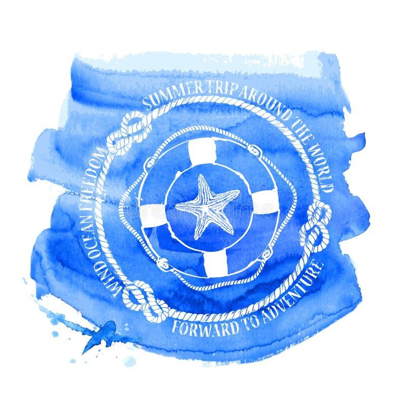 Emblema náutico com boia salva-vidas e estrela do mar do compasso ilustração stock