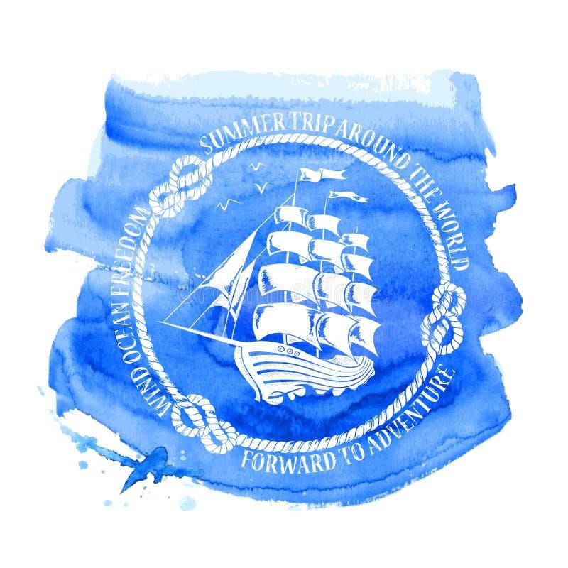 Emblema náutico com navio de navigação ilustração do vetor