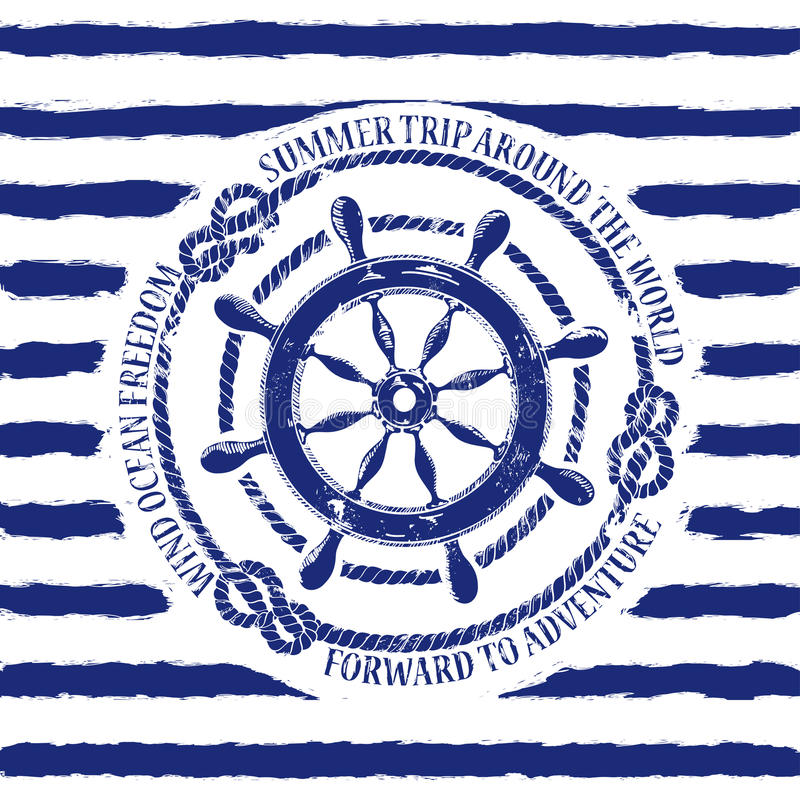 Emblema náutico com roda do mar ilustração stock