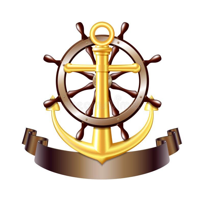 Emblema náutico con el ancla de oro, vector ilustración del vector