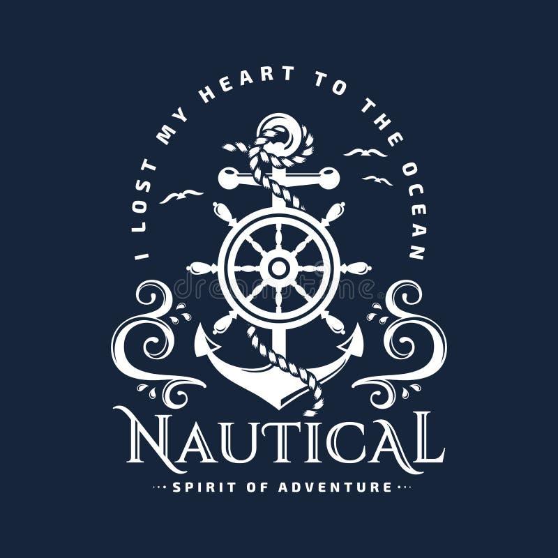 Emblema náutico con el ancla, el volante y las ondas libre illustration
