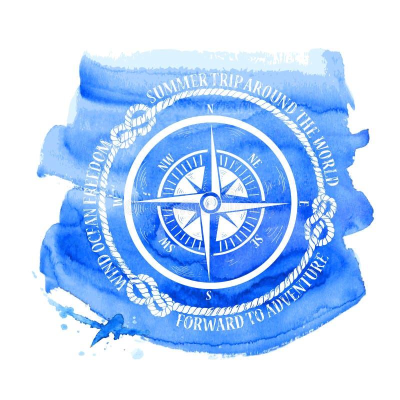 Emblema náutico con el compás stock de ilustración