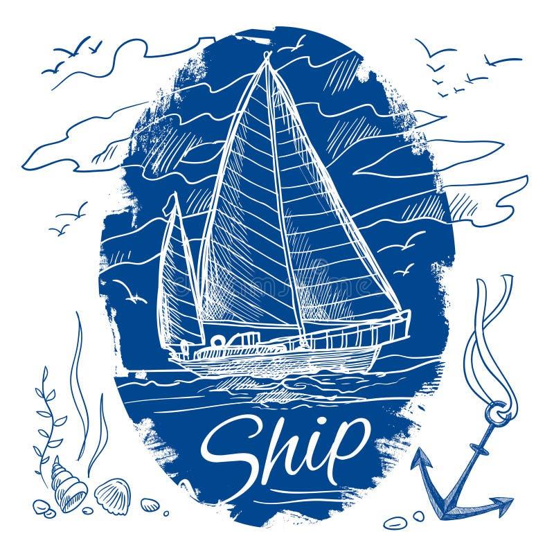 Emblema náutico con la nave stock de ilustración