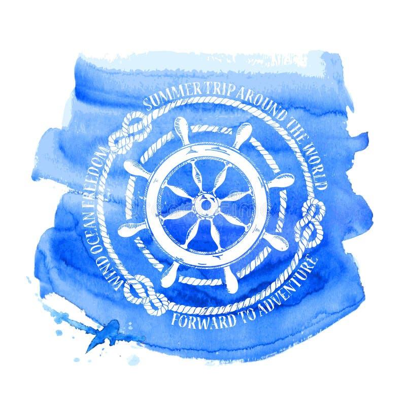 Emblema náutico con la rueda del mar ilustración del vector