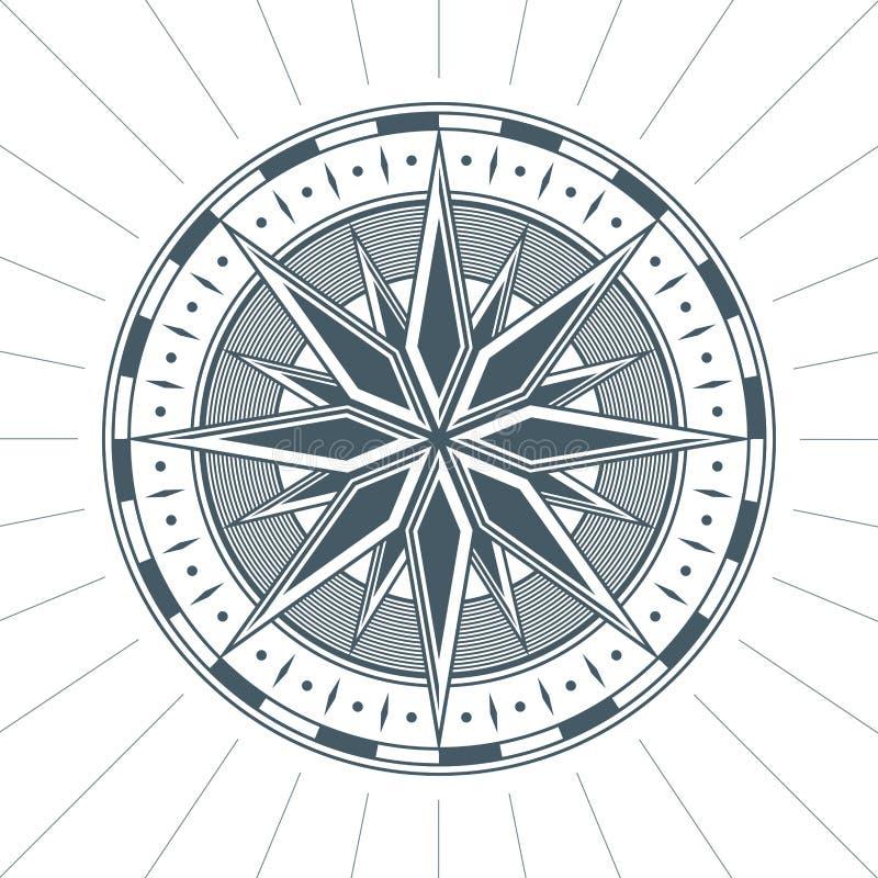 Emblema náutico de la etiqueta de la muestra del compás de la rosa antigua vieja del viento del vintage stock de ilustración