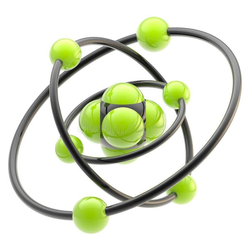 Emblema nano de la tecnología como estructura atómica libre illustration