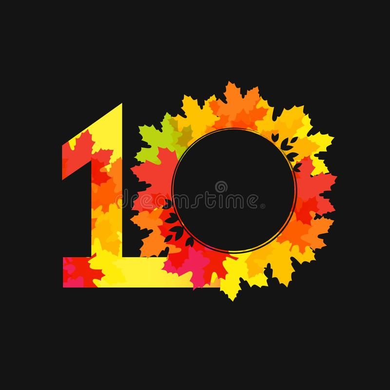 emblema natural que felicita 10 ilustración del vector