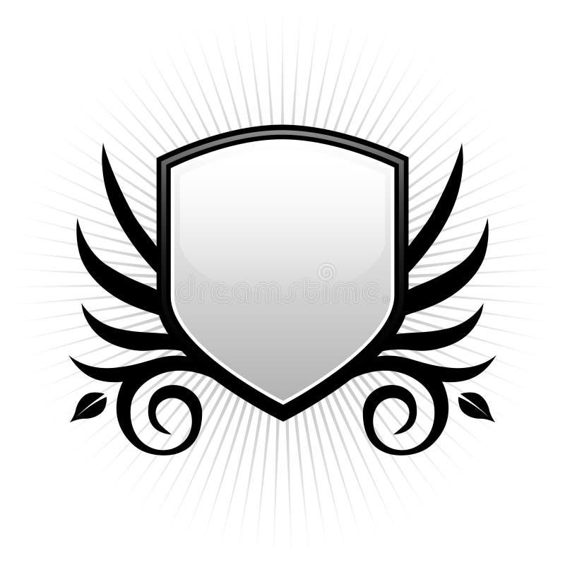 Emblema negro y blanco del blindaje stock de ilustración