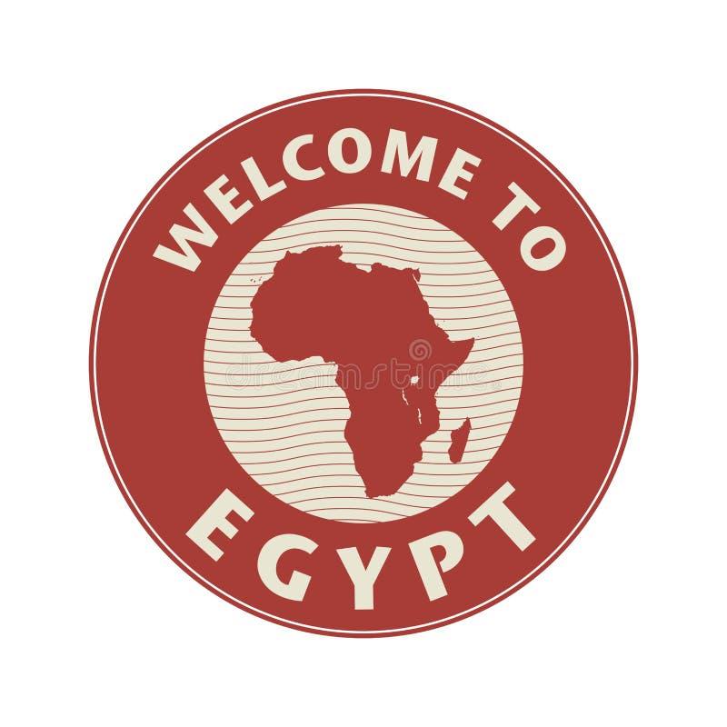Emblema o bollo con il benvenuto del testo nell'Egitto royalty illustrazione gratis