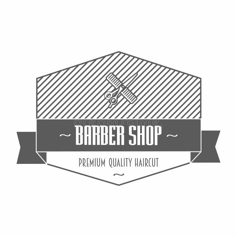 Emblema o etichetta di Barber Shop che descrive un pettine e forbici con testo, uno in uno schermo e un'insegna e una corona del  illustrazione di stock