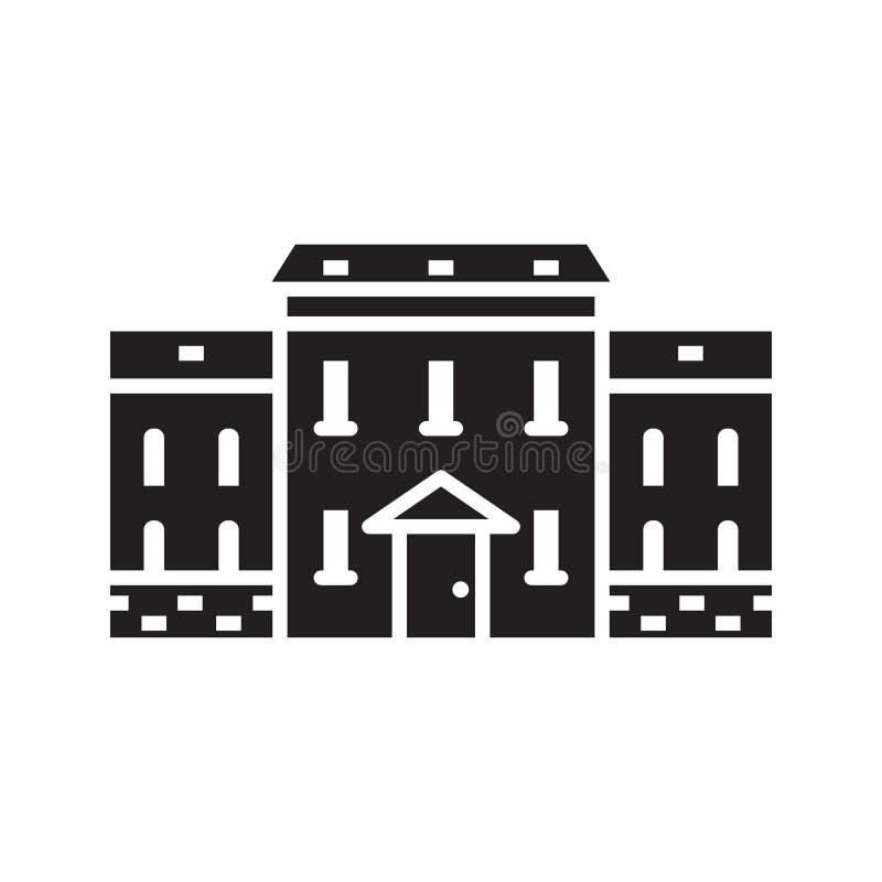 Emblema o logotipo inglés de la casa de ciudad ilustración del vector