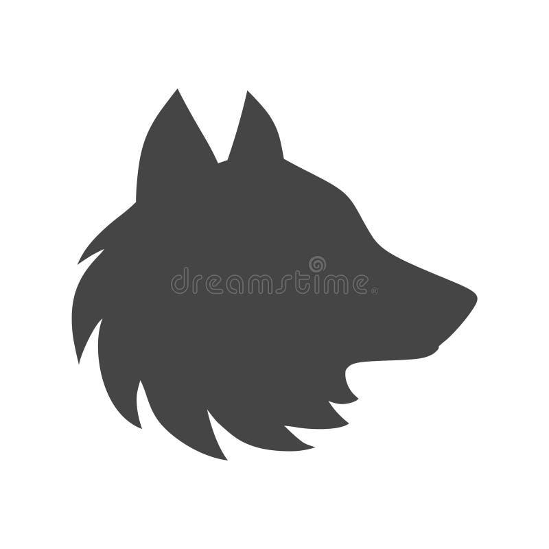 Emblema o logotipo negro del aullido del lobo stock de ilustración